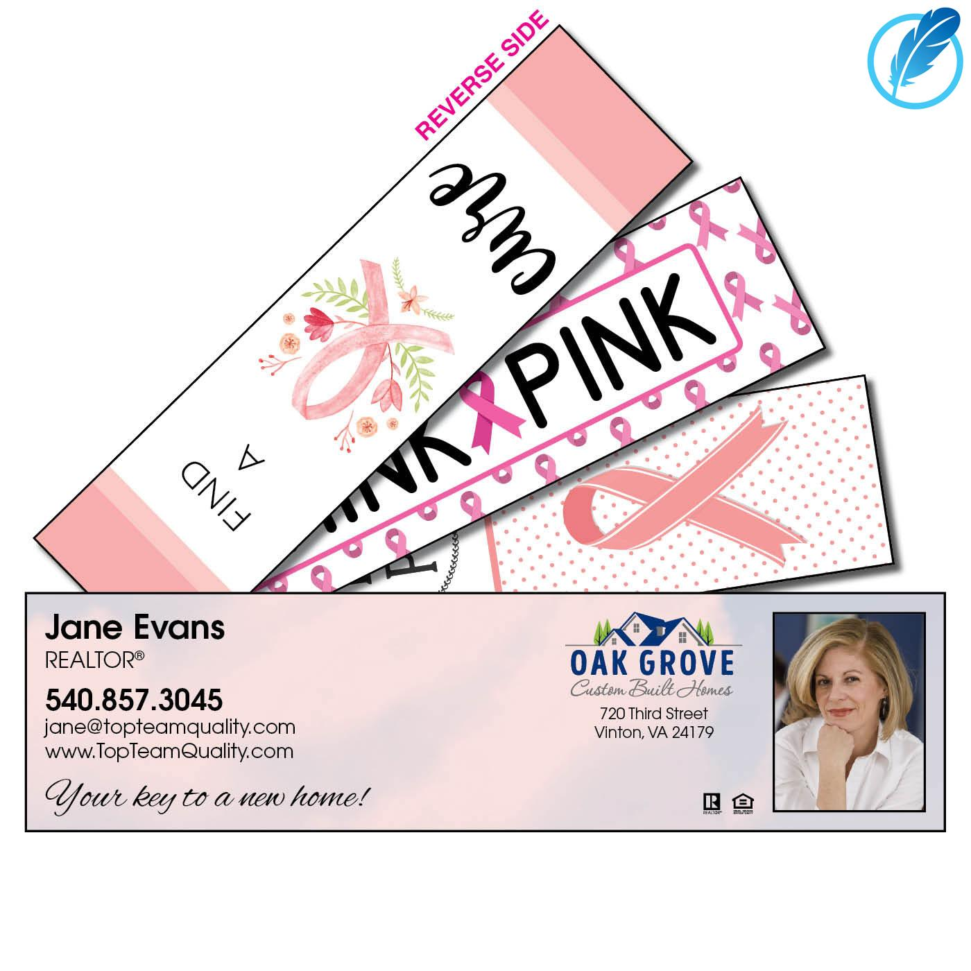 Breast cancer awareness business bookmark