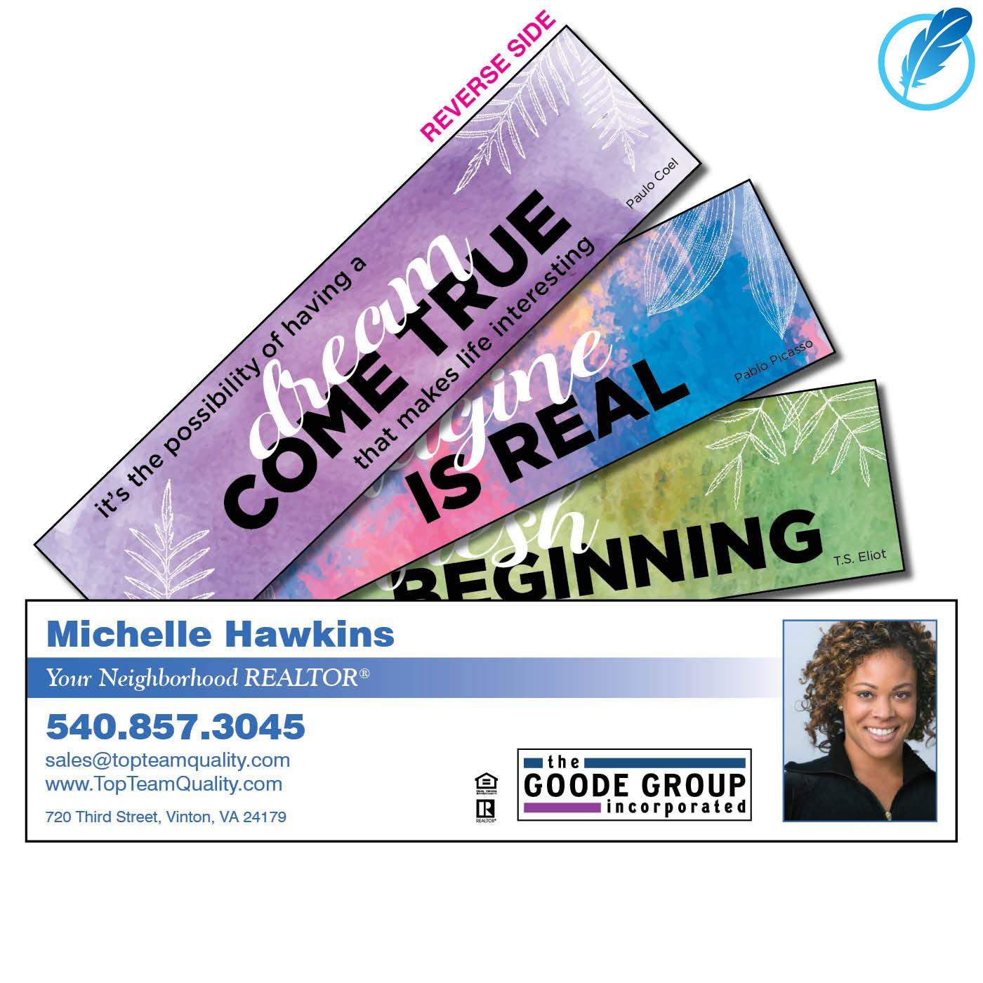 Colorful Quote business bookmark