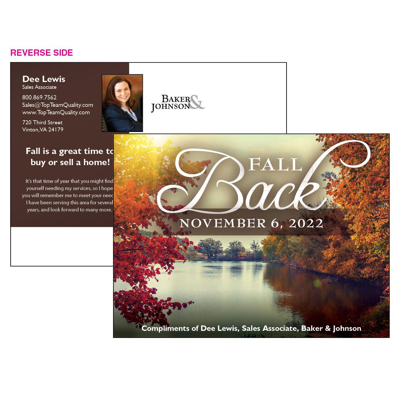 Fall Back at the Lake Post Card