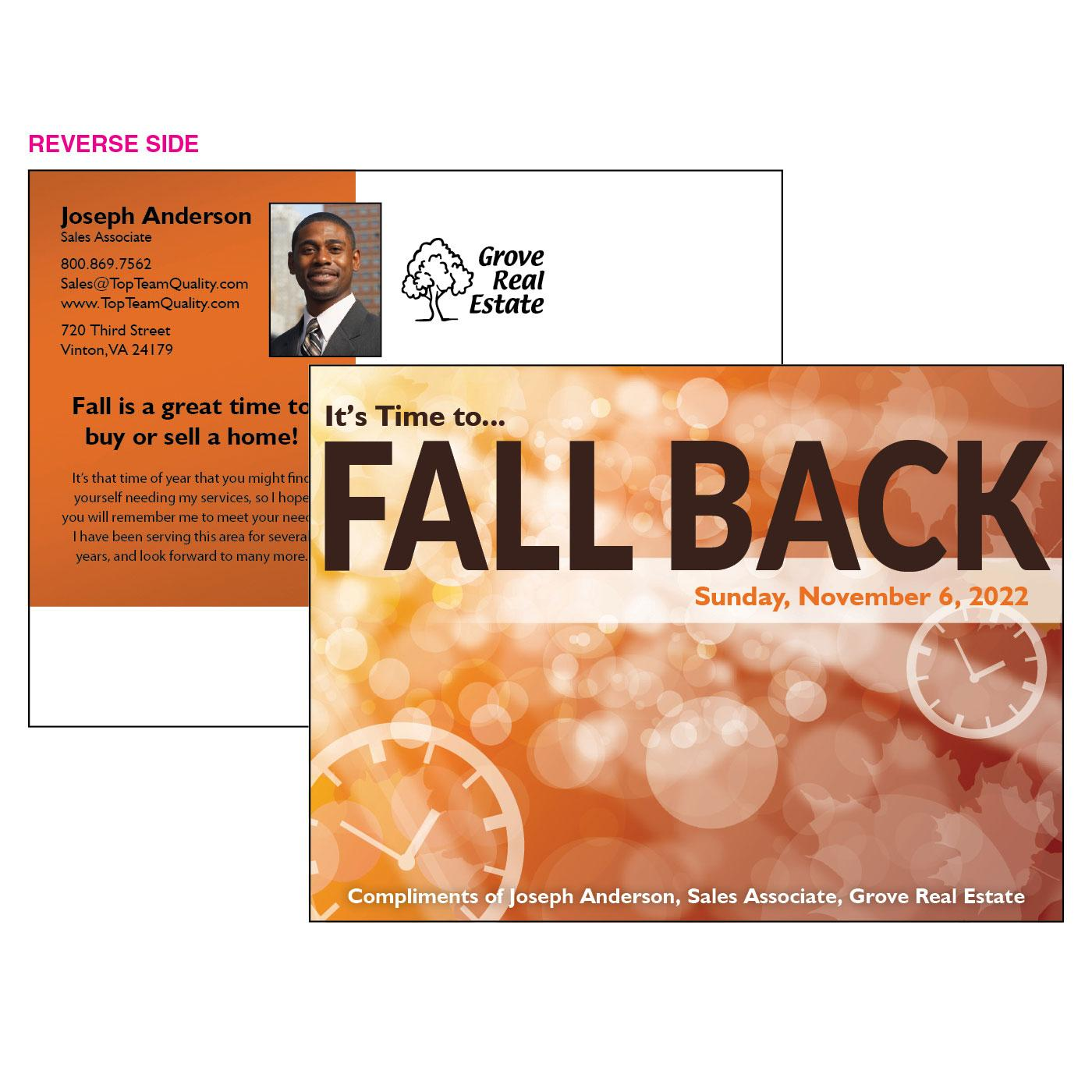 Fall Back Promotional Postcard
