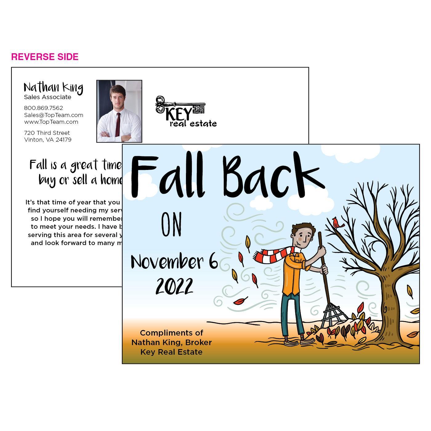 Raking Leaves Fall Back Postcard