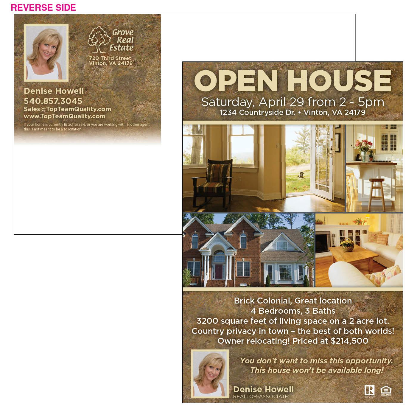 Marketing postcard for open house