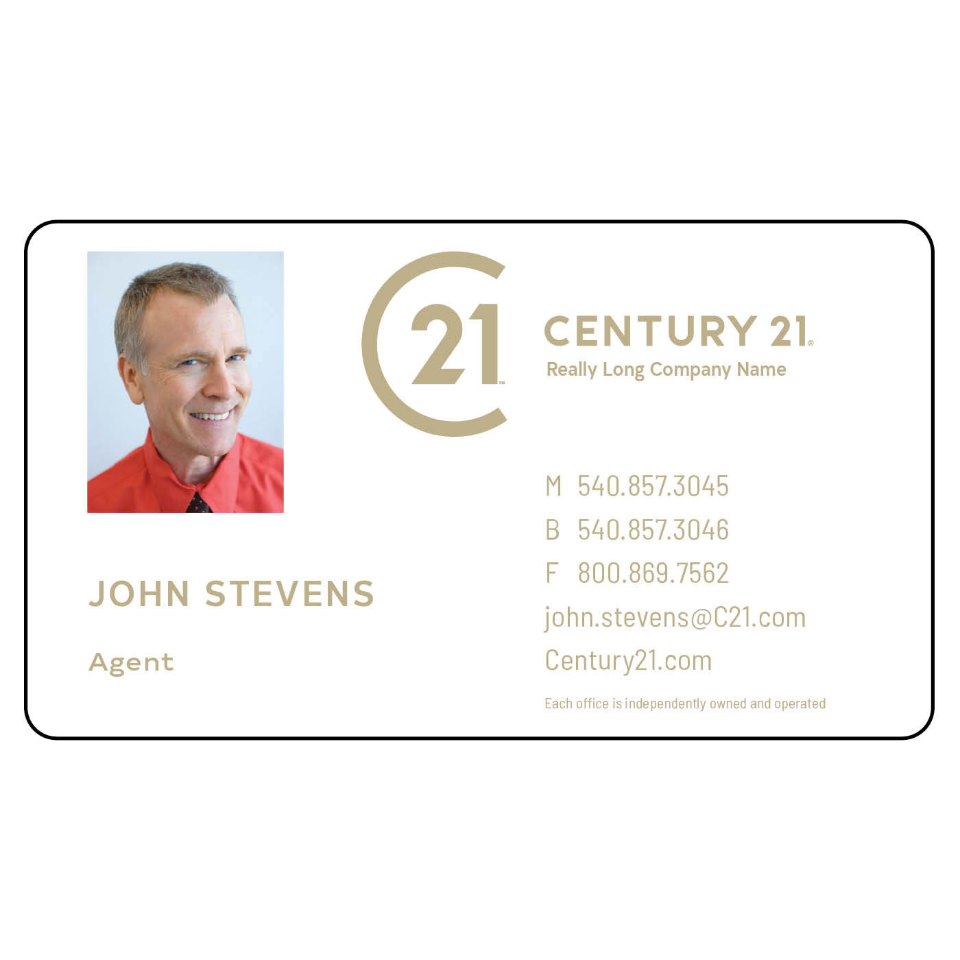 Century 21 gold magnetic business card