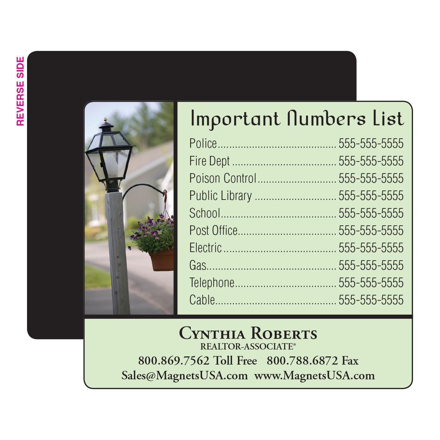 Lamppost Phone List Magnet