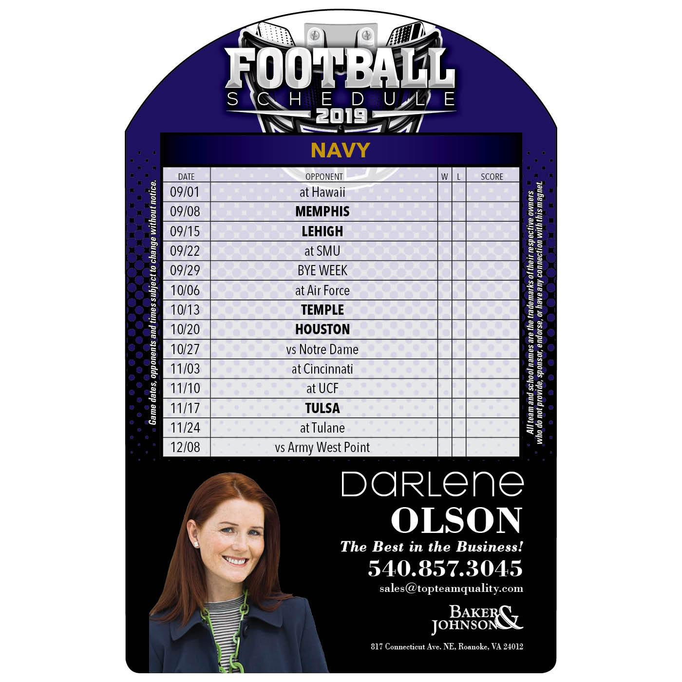 Arc Shaped Football Schedule Magnet