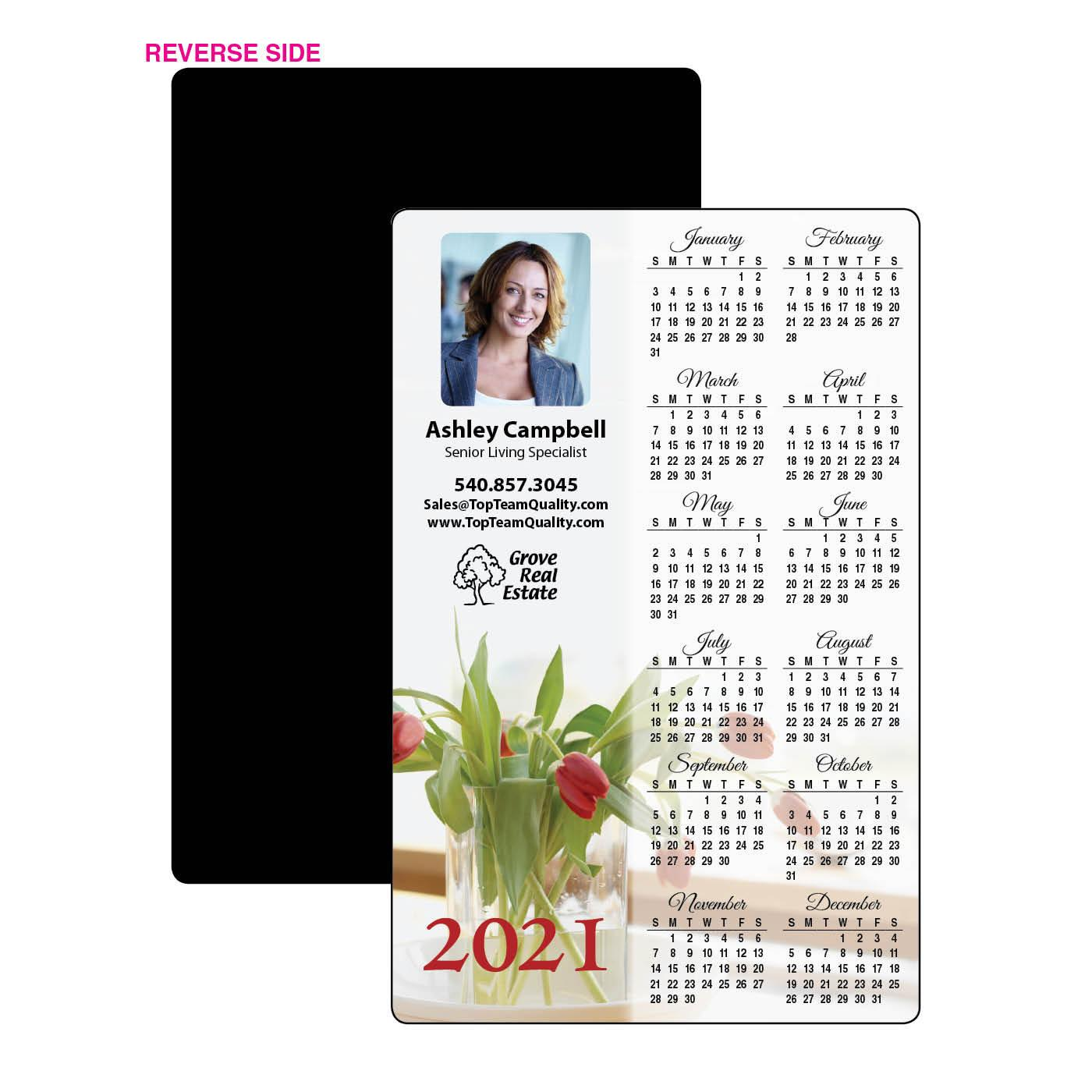 Calendar Magnet with Red Flowers