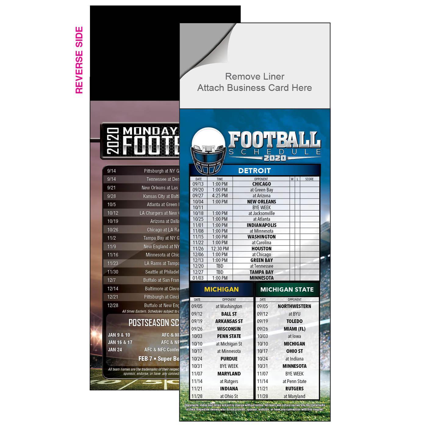 Peel 'n Stick Football Schedule